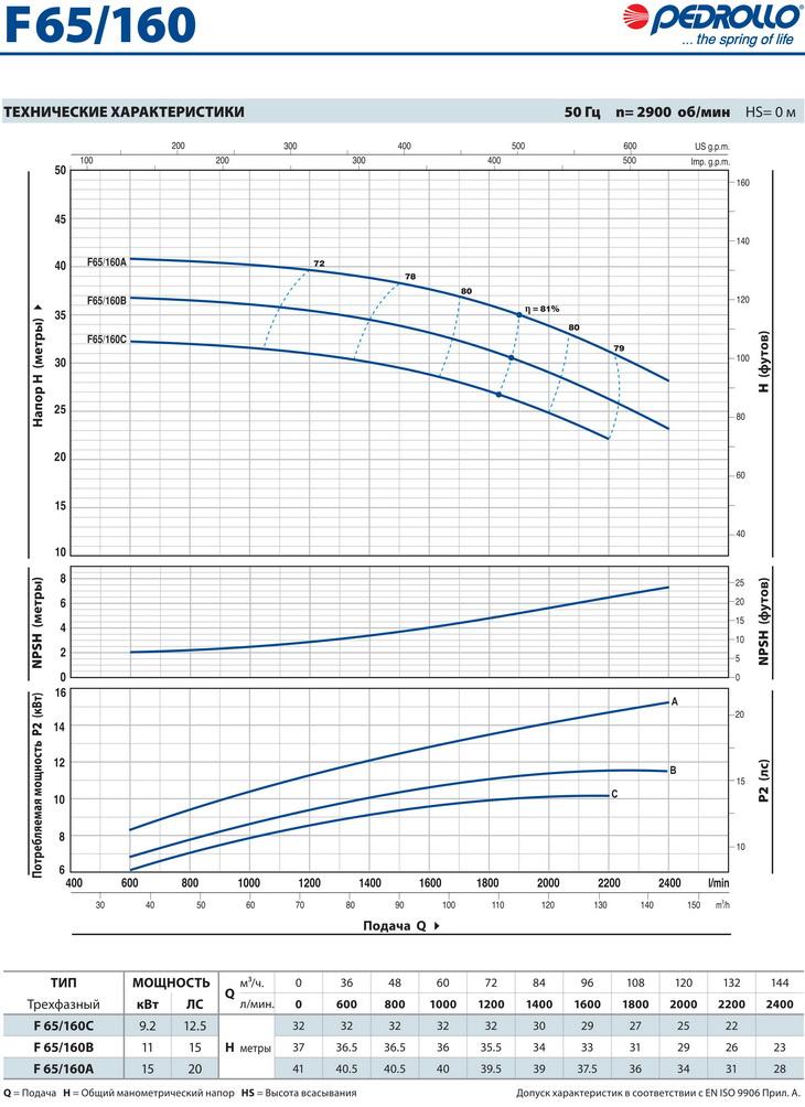Технические характеристики консольного насоса Pedrollo F65/160