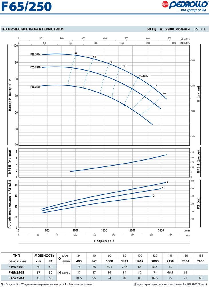 Технические характеристики консольного насоса Pedrollo F65/250