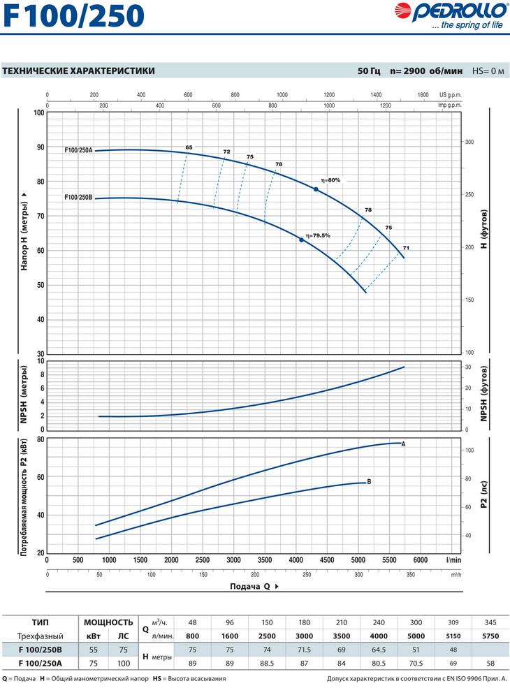 Технические характеристики консольного насоса Pedrollo F100/250