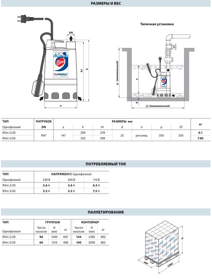 Размеры дренажных насосов Pedrollo RX-VORTEX 2-3