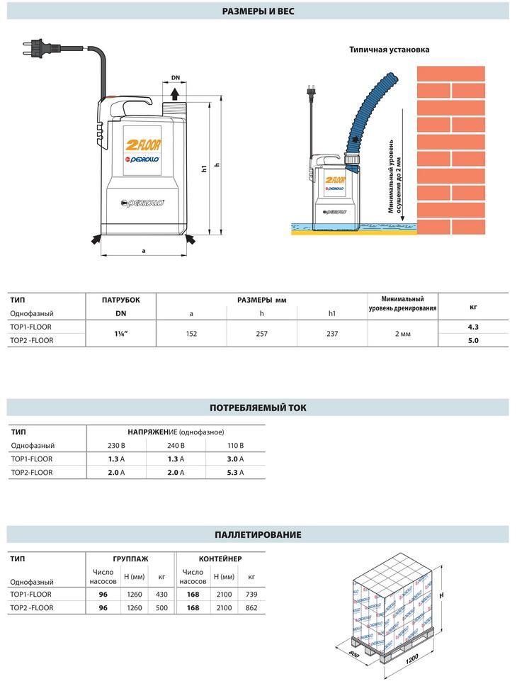 Размеры дренажных насосов Pedrollo TOP-FLOOR