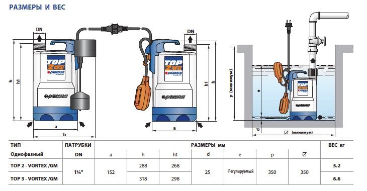 Размеры дренажных насосов Pedrollo TOP-VORTEX