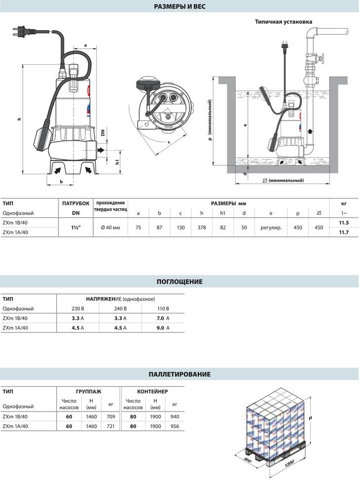Размеры фекальных насосов Pedrollo ZXm 1B/40