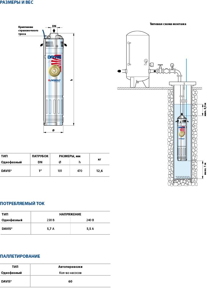 Размеры скважинного насоса Pedrollo Davis